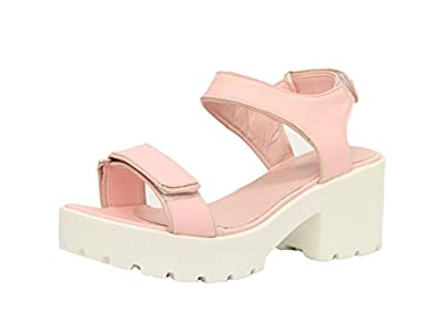 7fabe42d6095 Ladies Womens Velcro Gladiator Chunky Sole Cleated Platform Sandals Shoes  Size