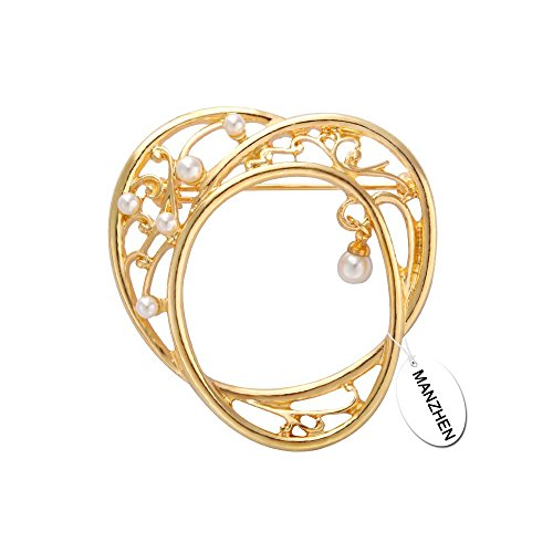 MANZHEN Gold Simple Multi-Circle Freshwater Pearl Brooches Pins for Shirt (Circle Gold Brooch)
