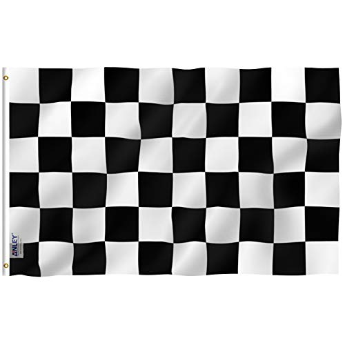 (Anley Fly Breeze 3x5 Foot Checkered Flag - Vivid Color and UV Fade Resistant - Canvas Header and Double Stitched - Black and White Racing Flags Polyester with Brass Grommets 3 X 5 Ft)