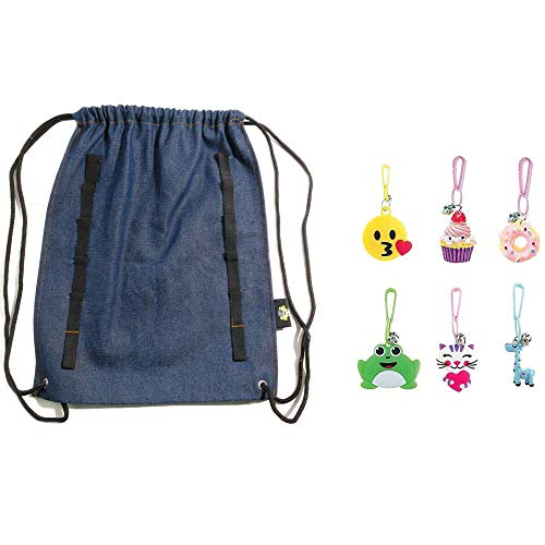 Drawstring Bag for Girls, Kids, Boys - Denim String Backpack with Loops for Charms - 6 Cute Charms Included - Cool Sack for the Gym, Sports, Camping, BFF Sleepovers - Party Favors Giveaway Gift (2)