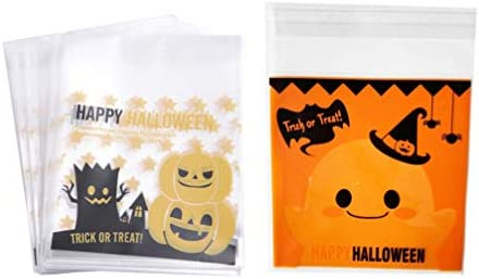Healifty 粘着性 お菓子 バッグ 自己接着 お菓子 ポーチ ハロウィン パーティー 用品 400ピース