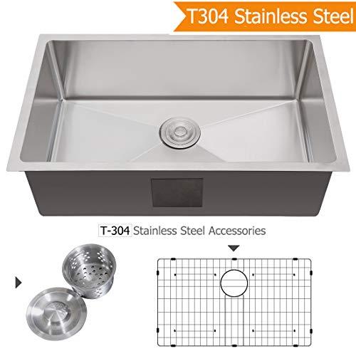 (AZESTY Standart 30-inch PRO 16 Gauge Undermount Stainless Steel Single Bowl Kitchen Sink)