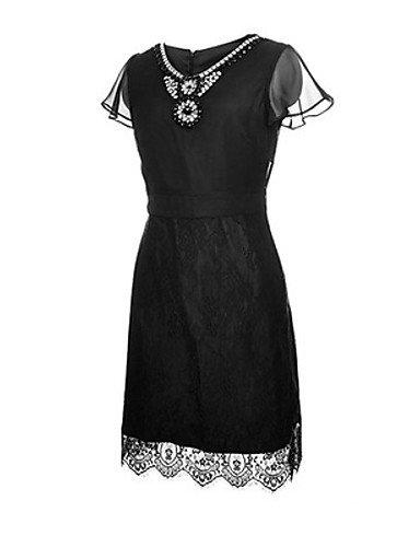 PU&PU Robe Aux femmes Ample Vintage,Couleur Pleine Col en V Midi Polyester , black-2xl , black-2xl