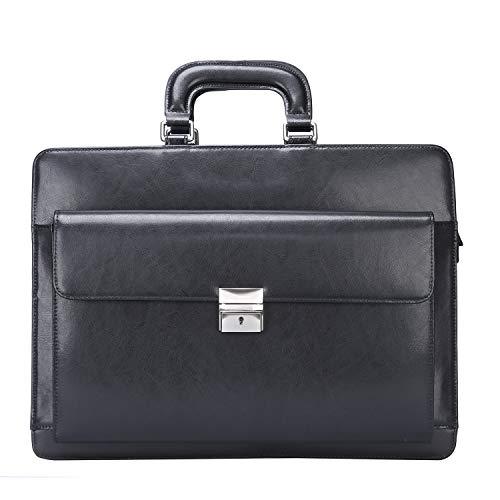 Ronts Black Genuine Leather Briefcase for Men Lock Bag Lawyer Attache Case 15.6 Inch Laptop Business Bag Handbag Shoulder Messenger Bag