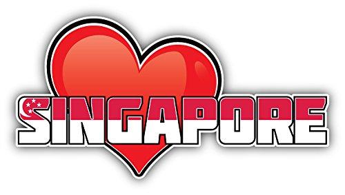 novland Singapore Art Heart Flag Travel Slogan Car Bumper Sticker Decal 6'' X 3''