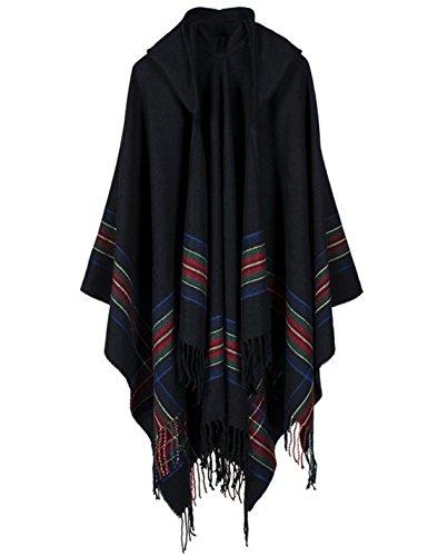 Yeokou Women's Loose Fit Hooded Tartan Cape Poncho Shawl Wrap Long Cardigans (One Size, Black)
