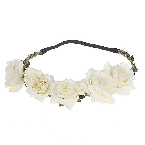 June Bloomy Women Rose Floral Crown Boho Flower Headband Hair Wreath (Ivory)