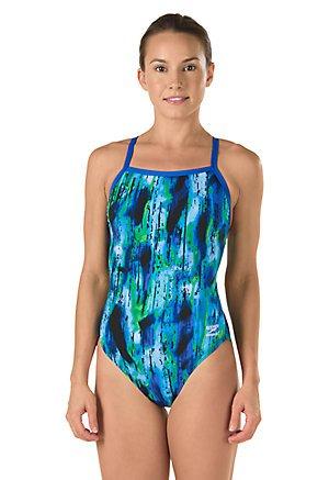Speedo Women's Endurance+ Art School Flyback Swimsuit, Blue/Green, Size 6/32