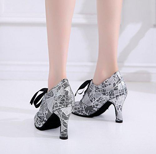 Zapatos diseño fiesta Heel con puntera floral 8 mujer de Minishion noche Cm baile lazo de Black cerrada para para dqx0nw7U