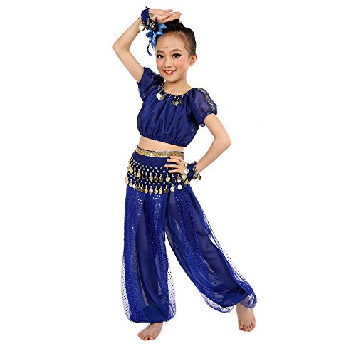[Children Costume Foutou Girls Belly India Dance Outfit Clothes Short Sleeve Top+Long Pant (L, Blue)] (Dancing Dolls Costumes)