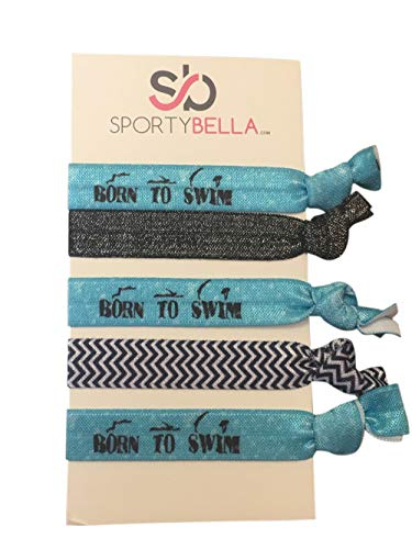 Infinity Collection Swimming Hair Ties- Girls Swimming Accessories- Swim Jewelry for Swimmers ()
