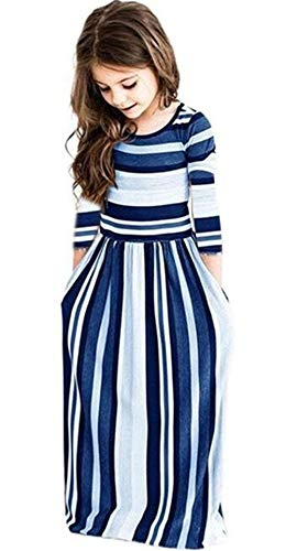 Miss Bei Girl's Summer Short Sleeve Stripe Holiday Dress Maxi Dress with Pocket Size 0-7T,Long Sleeve has Arrived 3-9T!! (6-7Years/140cm, Long Sleeve ()