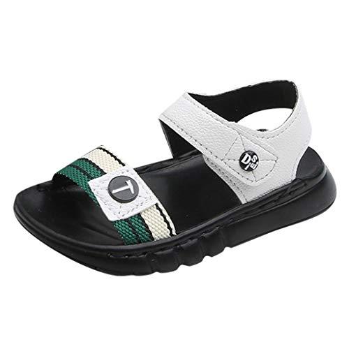 Toddler Little Kids Summer Sandals Non-Slip Boy Girl Slide Lightweight Beach Water Shoes Slippers Sneakers White ()