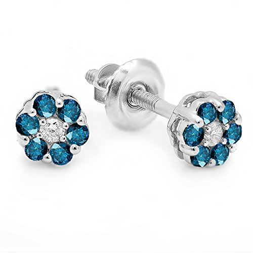 - Dazzlingrock Collection 0.20 Carat (ctw) 14K Round White & Blue Diamond Ladies Cluster Flower Earrings 1/5 CT, White Gold
