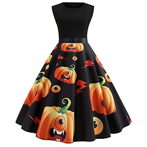YOCheerful Swing Dress Halloween Women's Sleeveless Dress O Neck Autumn Evening Printing Party Prom Dress Black