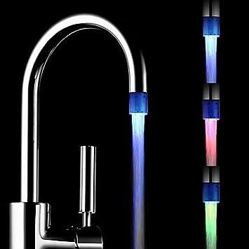 Batterielose Stilvolle Wasser Powered K/üche Colorful LED Wasserhahn Licht