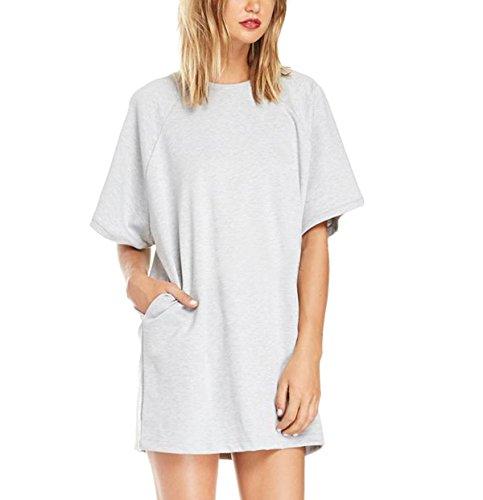 Purpura Erizo Womens Loose Insert Pocket Short Sleeve Straight Dress,XX-Large