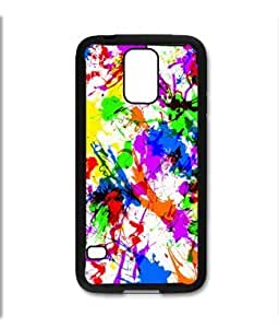 Samsung Galaxy S5 SV Black Rubber Silicone Case - Paint Splatter Paint Colorful