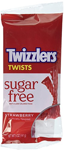 TWIZZLERS Twists, Strawberry, Sugar Free Licorice Candy / Snack, 5 Ounce Bag (Pack of 12)