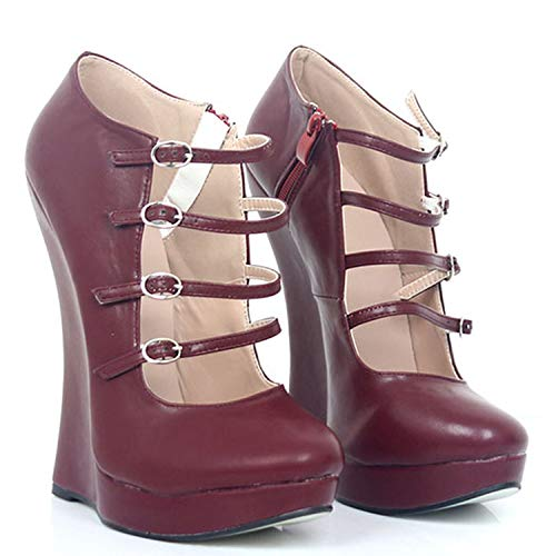 mamamoo Wedge Round Toe Fetish Shoes Exotic Dancer Gothic Strappy Pumps Women Plus Size 13 45 18cm,Wine -