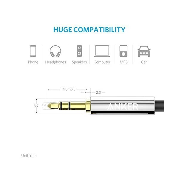 Anker 35mm Premium Auxiliary Audio Cable 8ft 24m AUX Cable For Headphones IPods IPhones IPads Home Car Stereos And More Black