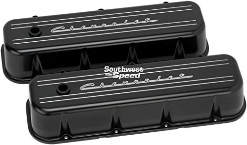 NEW BILLET SPECIALTIES CHEVROLET SCRIPT SATIN BLACK POWDER-COATED ALUMINUM TALL VALVE COVER SET FOR BIG BLOCK CHEVY WITH STAINLESS BOLTS, RUBBER GROMMETS, 1 1/4