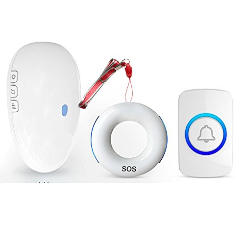 Emergency Call Button Smart Home Caller Wireless Home Patient Remote Control One Button Emergency Call Bell Ringer,White1Ring++1PlayerButton+1Button by pager