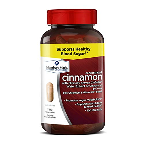 Cheap Member's Mark Concentrated Cinnamon with Clinicall Proven CinSulin Water Extract of Cinnamon 500mg plus Chromium & GlucoLite Blend (1 bottle (170 capsules))