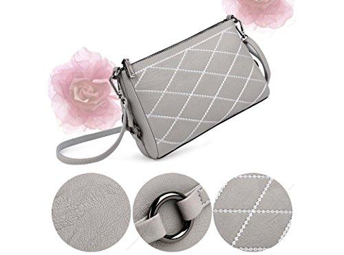 Multifuncional Lingge Moda Diagonal Paquete Y Simple gray Meaeo Cómoda Hombro Negro Bolso X7Int
