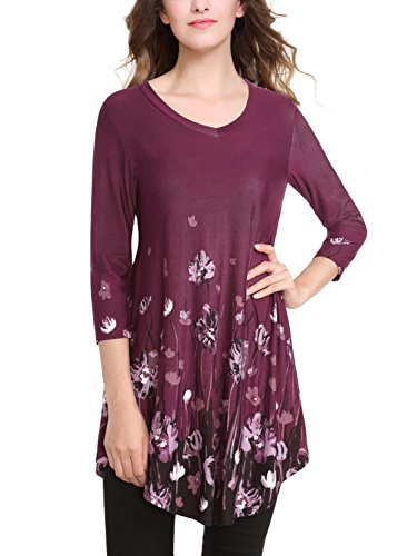 Baishenggt Womens 3 4 Sleeves Floral Printed V Neck Flare Tunic Top X Large T15 Purple Floral