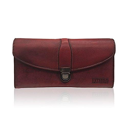 Women's Ladies Large Capacity Handmade Dip Dye Genuine Leather Wallet Card Holder Purse (923Red)
