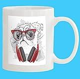 Custom Coffee Mug 11 Oz pug glasses headphones White Ceramic Gifts Tea Cup