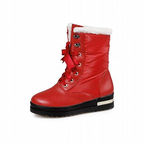 Show Shine Womens Fashion Platform Lacing up Short Boots Red Q65HDR