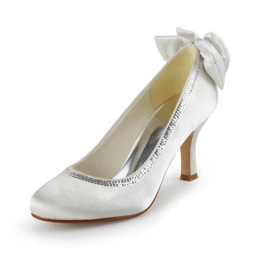 TDA TH12128 Womens Roud Toe Ivory Satin Crystals Evening Parting Bridal Wedding Dress Pumps 6 M US