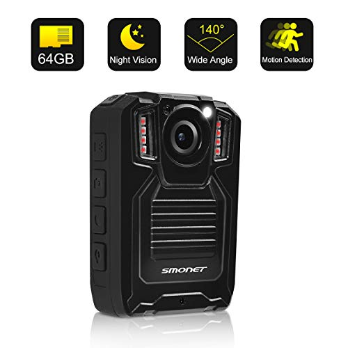 SMONET 1296P HD Body Camera with Audio, Police Body Camera(Built in 64GB),2 Inch Display Body Cameras for Law Enforcement, Body Worn Camera for Police with Night Vision,Video Recorder,Waterproof