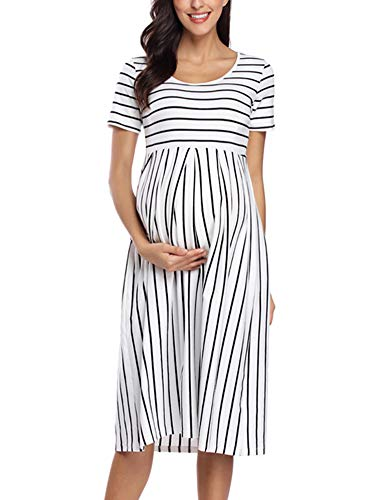 - BBHoping Women's Summer Casual Striped Maternity Dress Short Sleeve Knee Length Pregnancy Clothes for Baby Shower