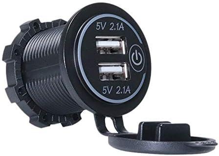 ACAMPTAR 5V 2.1A 12?24V デュアルUSBカーチャージャーユニバーサル電源アダプター Led押しセンサースイッチ付きのソケット