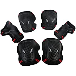 Leewos Impact Resistance Breathable BMX Bike Skateboard Protective Knee Pads Elbow Pads Wrist Guards Outdoor Sports Protective (youth/teens, red)