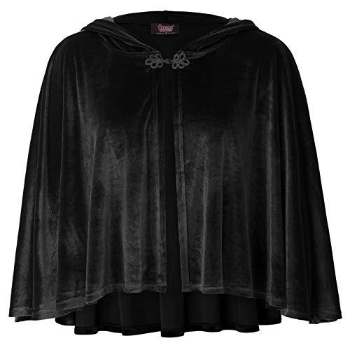 - Women Victorian Vintage Steampunk Button Velvet Hooded Cape