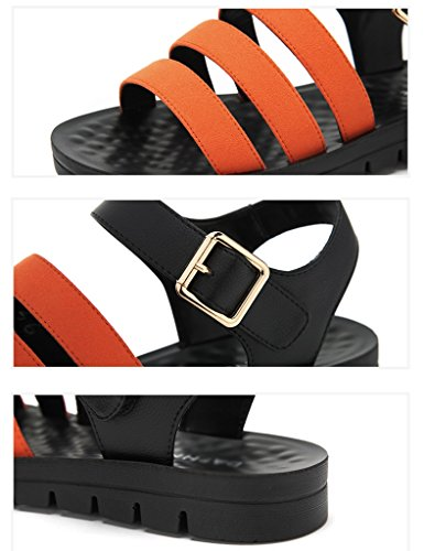 Sandals ZCJB Summer Velcro Flat Bottom Low-heeled Pure Color Casual Comfortable Open Toe Shoes (Color : Dark green, Size : 37) Orange