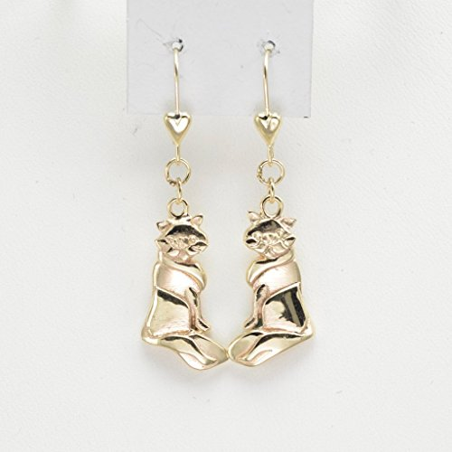 14Kt Persian Cat Earrings - Gold Cat Earrings by Donna Pizarro from (14kt Gold Cat Ring)