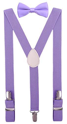 Juniors Tie - PZLE Kids Bow Tie and Suspenders Set Adjustable Elastic 40 Inches Lavender