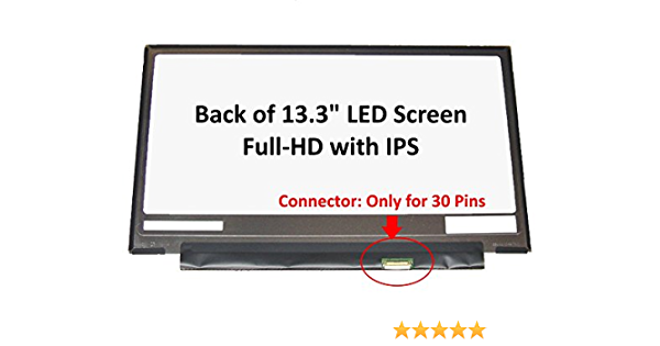 FULLCOM New 13.3 inch Screen Compatible with LQ133M1JW15 IPS FHD 30 Pins Replacement Laptop LED LCD