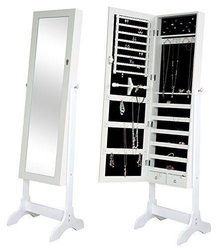 LCH Mirrored Jewelry Cabinet Lockable Jewelry Armoire with Stand, 4 Angle Adjustable Storage Organizer for Rings, Earrings, Bracelets, Necklace, Broaches, Cosmetics, White