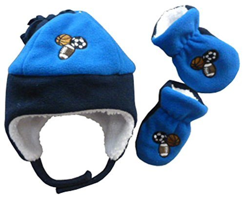 N'Ice Caps Boys Sports Balls Embroidered Sherpa Lined Fleece Set (6-18 Months, Infant - Royal/Navy)