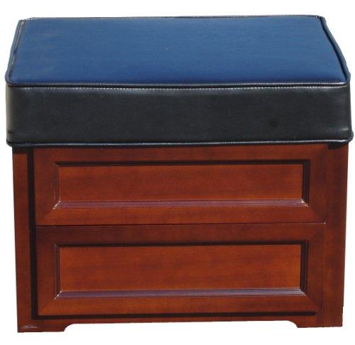 Blackstone International Leather Media Storage Ottoman, African Teak and Solid Hardwood (Hardwood Media Storage Unit)