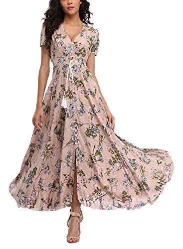 V fashion Women's Floral Maxi Dress Button Up Split Summer Boho Long Beach Dress Dusty Pink