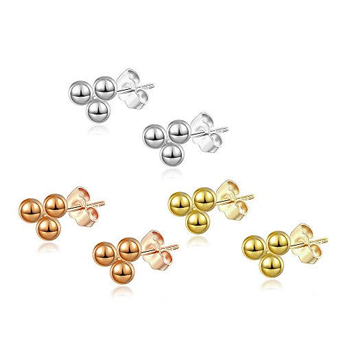 14K Gold Plated Dainty Tiny Bar, Ball, Trio Ball, Delta, Circle Disc and Heart Stud Earrings