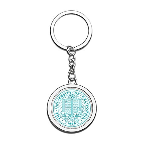 UCSF University of California San Francisco Badge Keychain 3D Crystal Creative Spinning Round Stainless Steel Keychain Travel Souvenir Key Chain Ring -