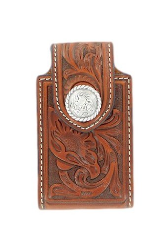 HorseSaddleShop Brown Floral Tooled with Silver Concho Phone Case Floral Tooled Phone Case